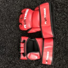 Gants mitaine boxe femme Fightness rouge et noir