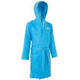 Peignoir 8 ans microfibre natation enfant bleu avec capuche, poches et ceinture NABAIJI
